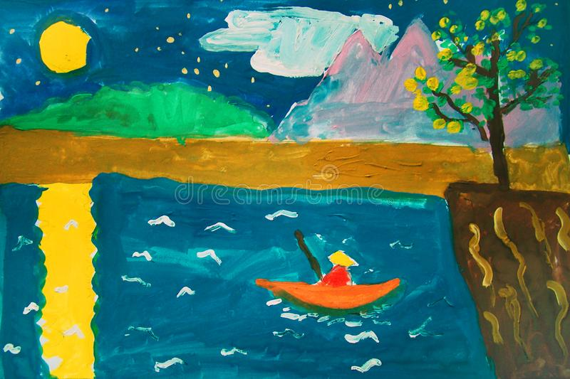Lonely fisherman - gouache painting made by child stock illustration