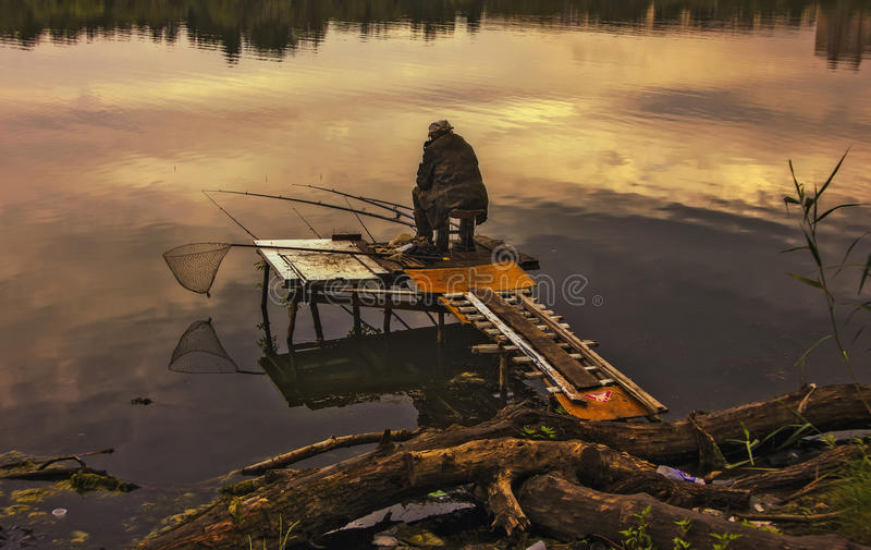 Lonely fisherman. stock images