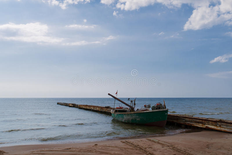 Download Lonely fishing boat stock image. Image of outdoor, fishing - 22942437