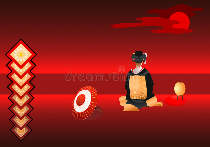 Lonely geisha. Under the red moon vector illustration