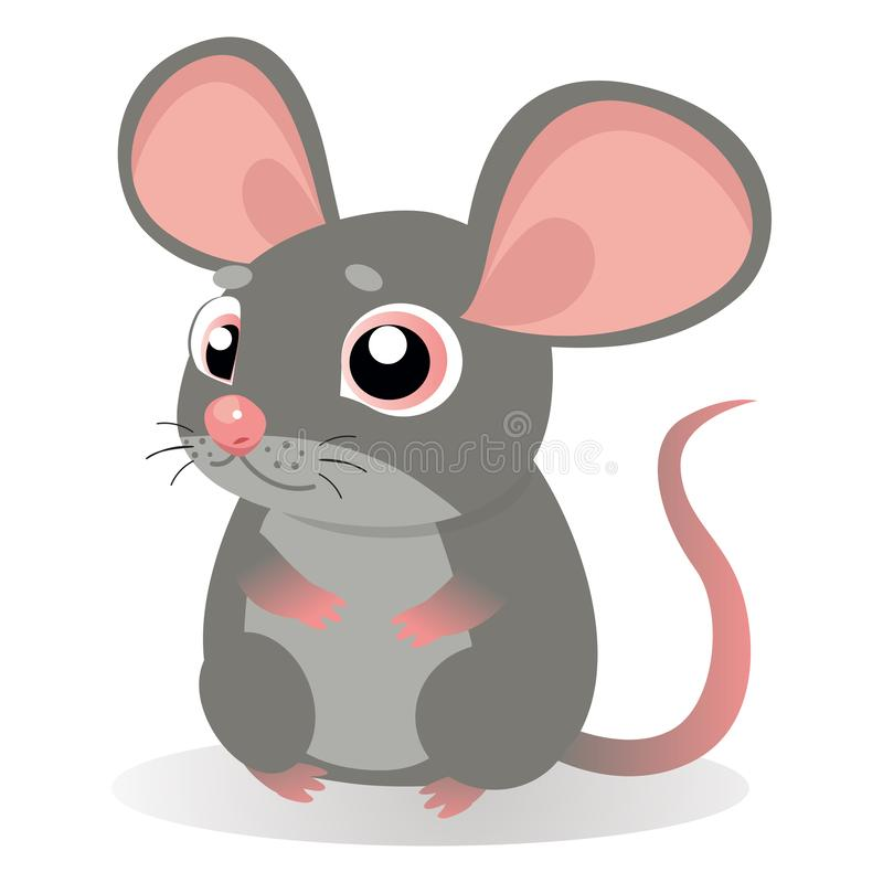 Lonely Gentle Mouse. Fancy Little Mice Vector Illustration. royalty free illustration