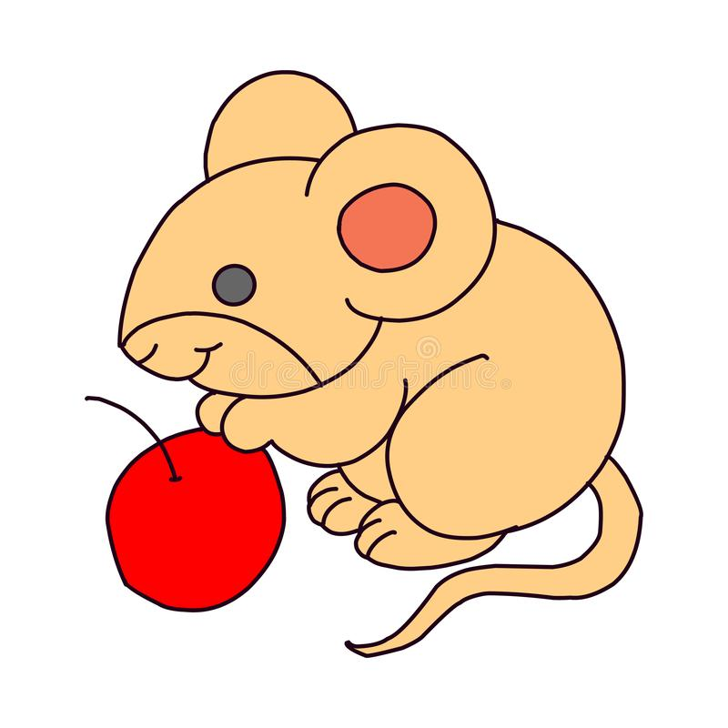 Lonely Gentle Mouse. Fancy Little Mice Vector Illustration vector illustration