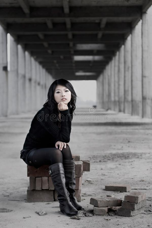 Download Lonely girl stock photo. Image of gray, adult, person - 19732920