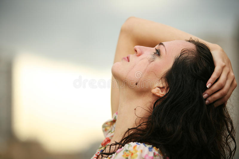 Lonely girl royalty free stock photography