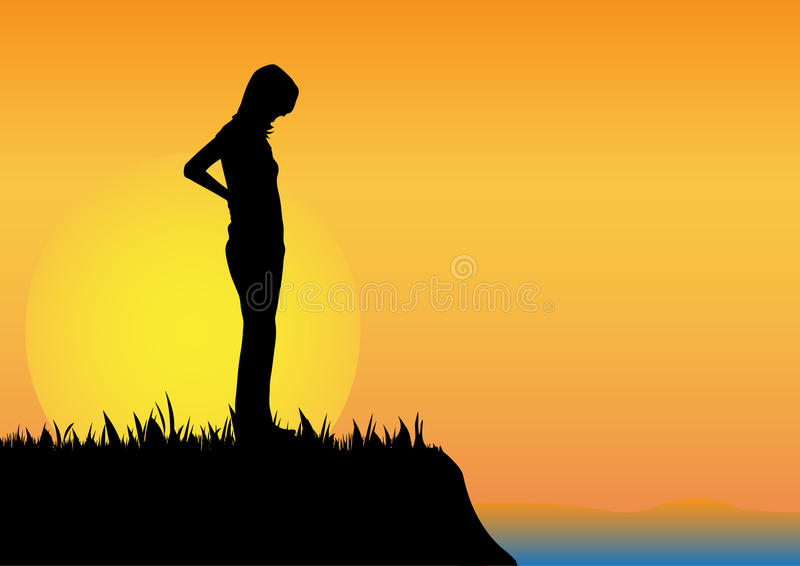Lonely girl. Near river vector illustration stock illustration