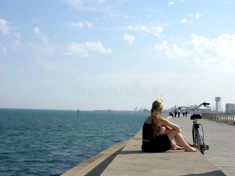 Download Lonely Girl On The Coastline Stock Photo - Image: 157084