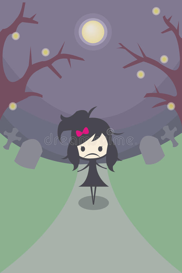 Lonely Girl in the Grave vector illustration