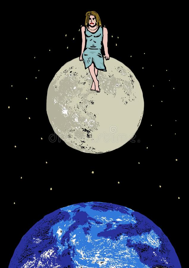 Lonely girl. Image of a lonely girl sitting on the moon vector illustration
