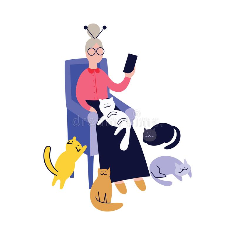 Lonely grandma with cats and telephone flat vector isolated on white background. royalty free illustration