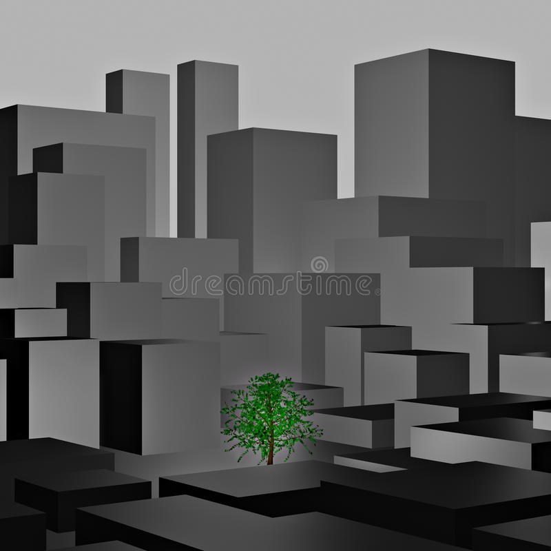Lonely green tree between high grey buildings. Computer generated 3D image vector illustration