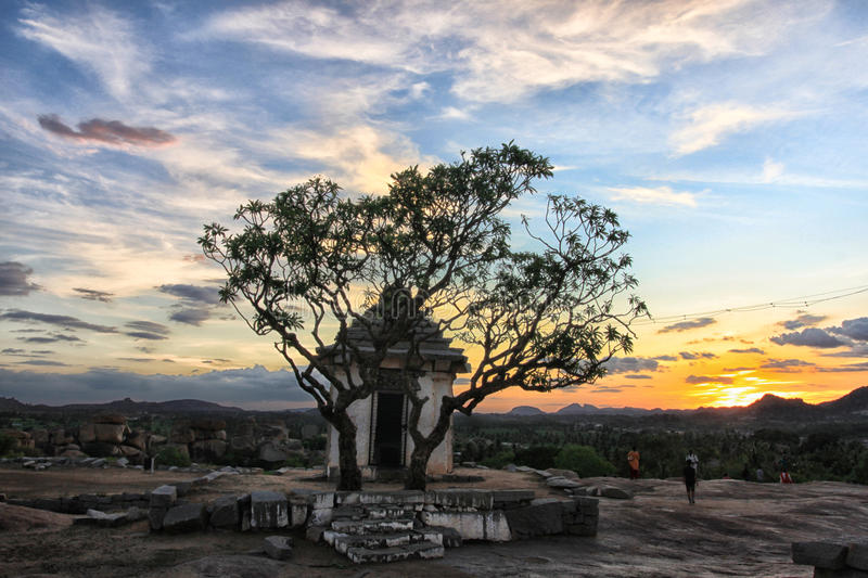 Lonely Hanuman temple at sunset point, Hampi. India stock photography