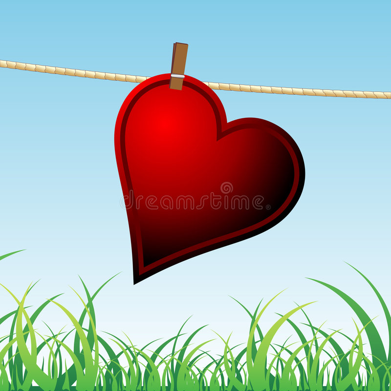 Lonely heart. Hanged on a rope waiting for love stock illustration