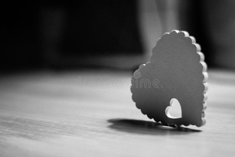 Download Lonely Heart On A Black And White Background Stock Image
