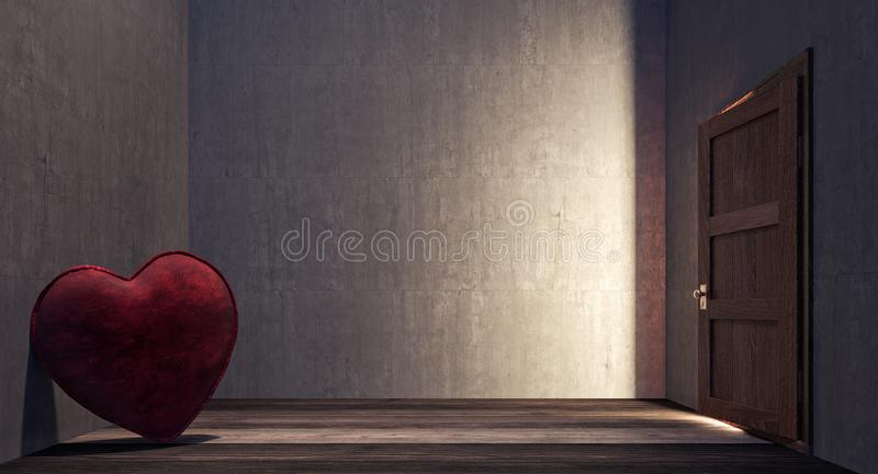Lonely heart in the dark side of the room. 3D Rendering stock illustration