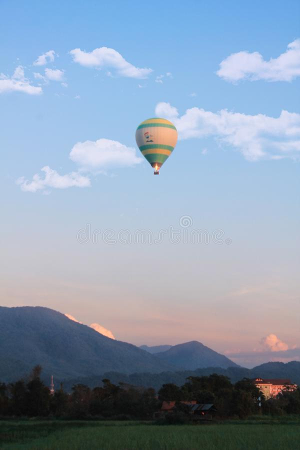 Lonely hot air ballon in Vang Vieng, Laos stock photos
