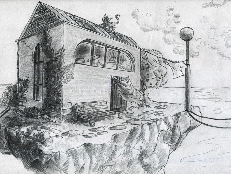 Download Lonely house stock illustration. Illustration of serenity - 25864609
