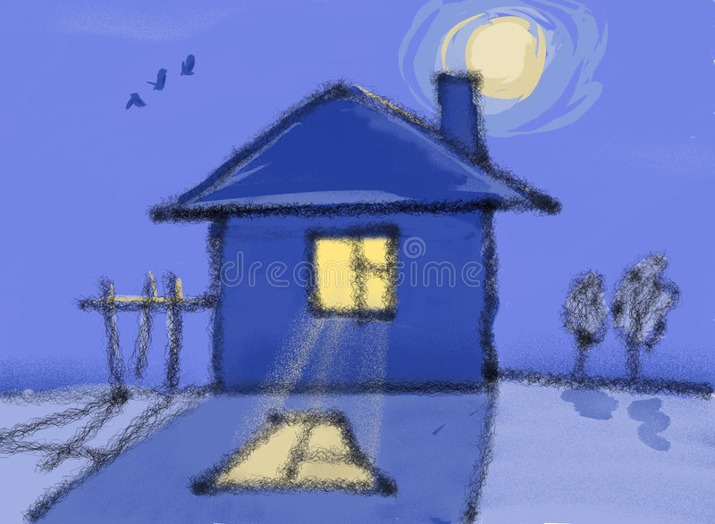 Lonely house at midnight vector illustration