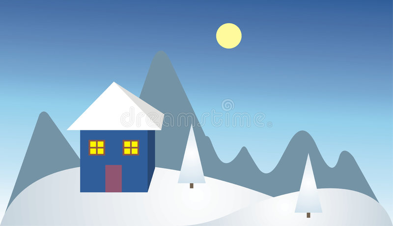 Download Lonely House In The Mountain Stock Illustration - Image: 1034247