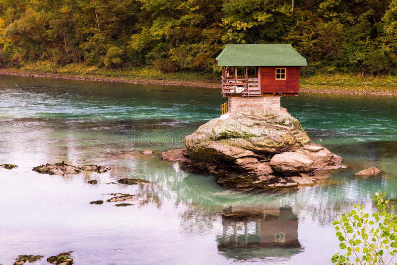 Lonely house on the river Drina in Bajina Basta, Serbia. Lonely house on the river Drina in Bajina Basta (Serbia royalty free stock images