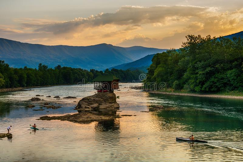 Lonely house on the river Drina in Bajina Basta, Serbia. Bajina Basta, Serbia July 31, 2017: Lonely house on the river Drina in Bajina Basta, Serbia royalty free stock photography