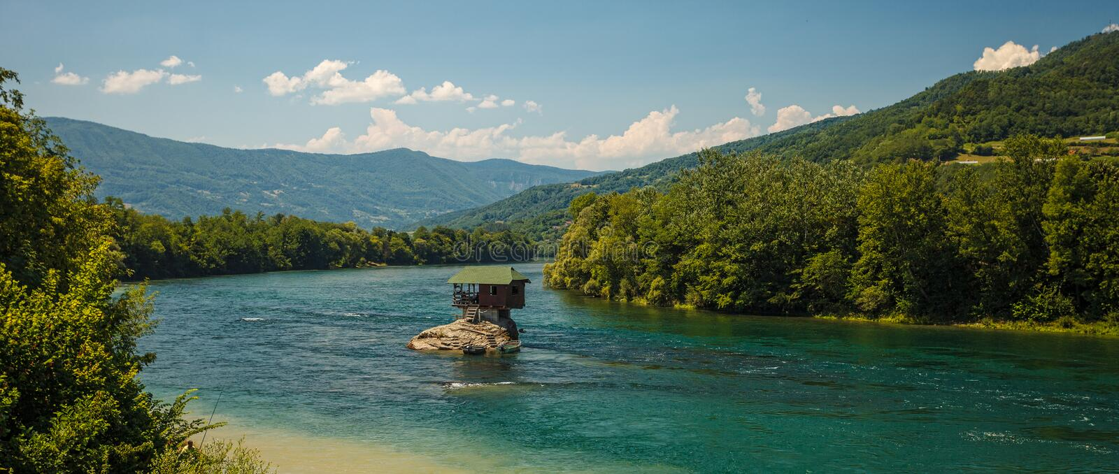 Lonely house. Serene lonely house on the river Drina in Bajina Basta, Serbia royalty free stock images