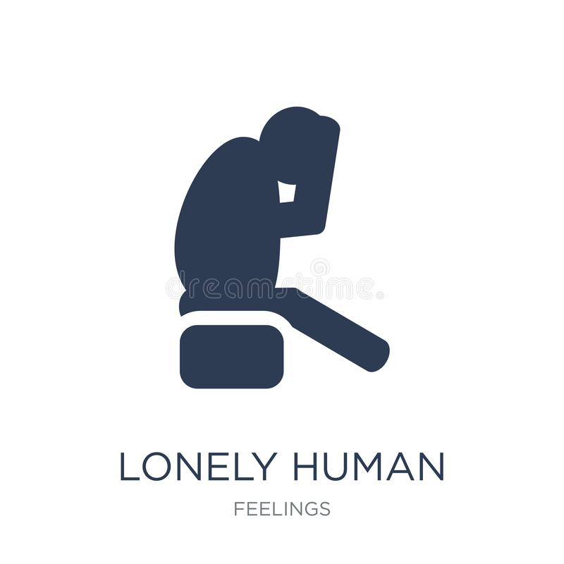 lonely human icon. Trendy flat vector lonely human icon on white vector illustration