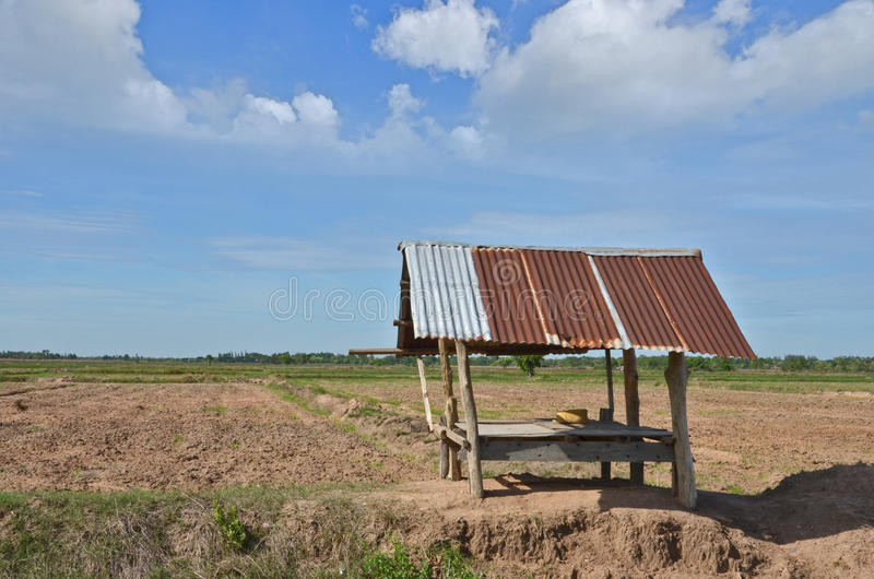 Lonely hut in the dried wide field royalty free stock images