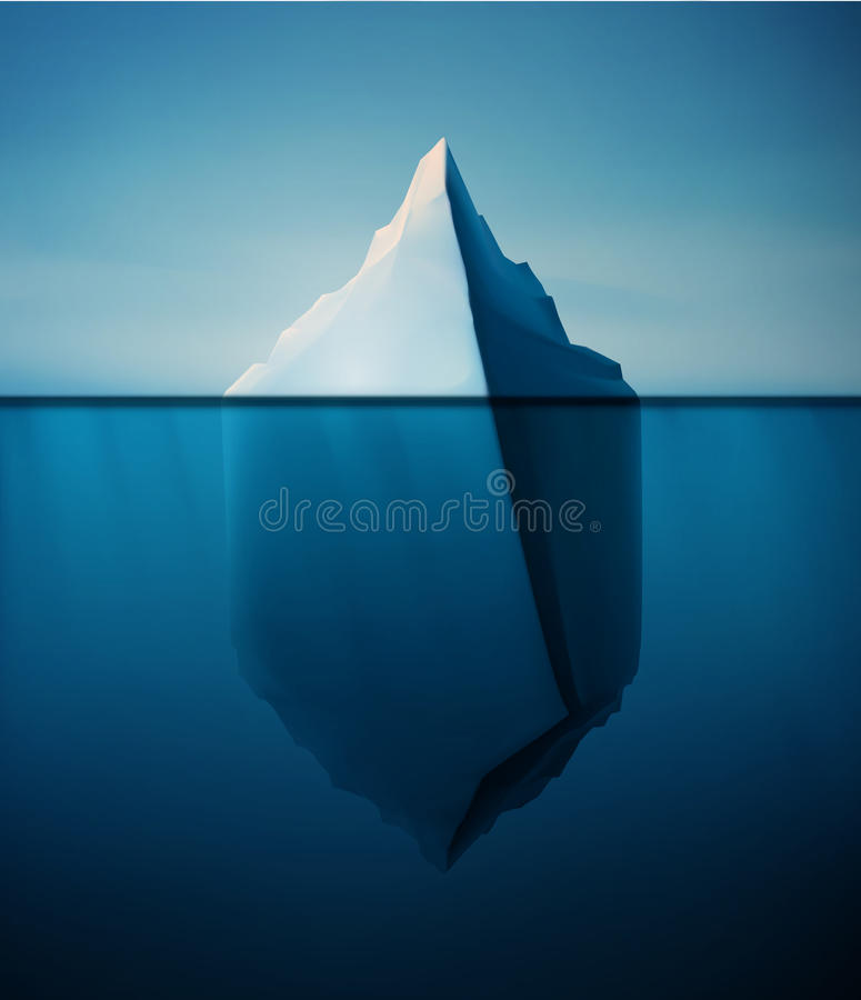 Lonely Iceberg. Ice berg on water concept vector background, eps 10 royalty free illustration