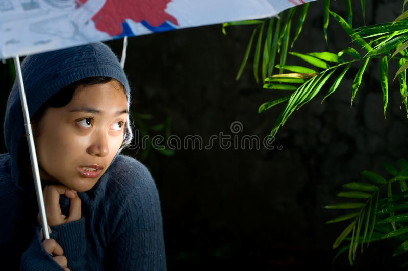 Lonely and insecure woman stock photo