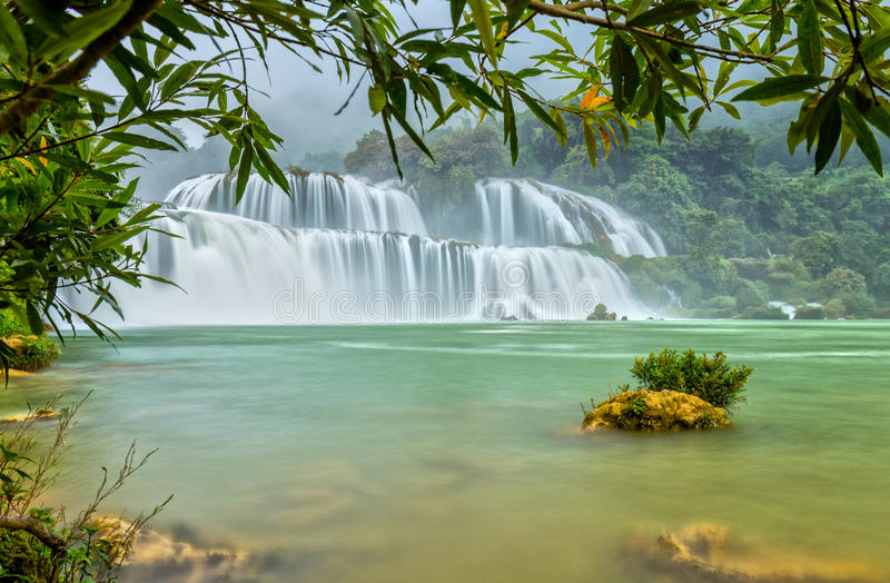 Lonely island the Ban Gioc waterfall stock image