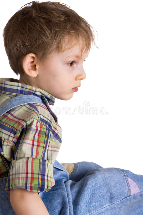 Lonely kid stock photo