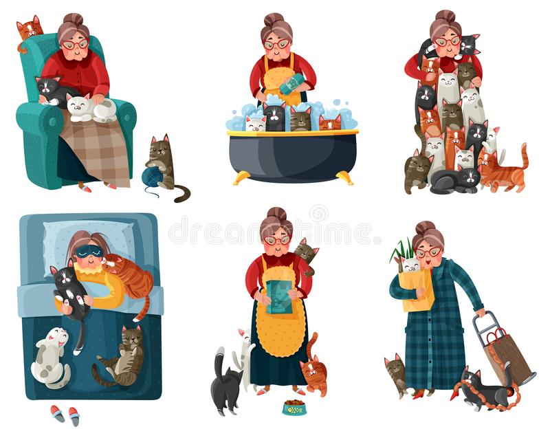Lonely Lady With Cats Set. Lonely lady with cats during shopping, feeding, sleeping, relaxation in armchair set of icons isolated vector illustration stock illustration