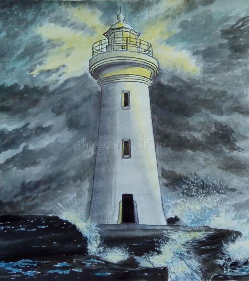 Lonely lighthouse. Storm. Waves crashing on the stones. royalty free illustration