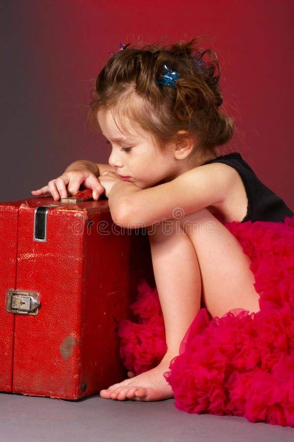 Lonely little girl stock photos