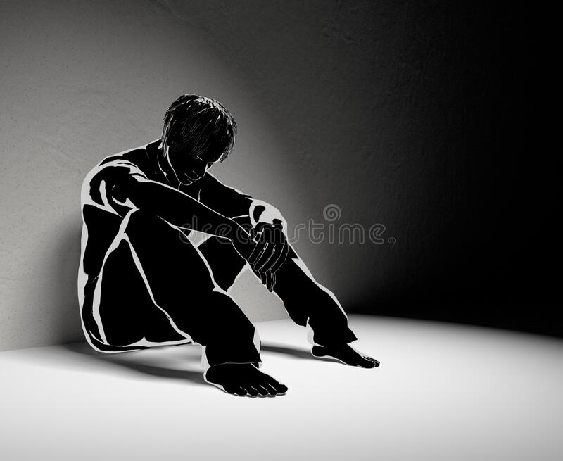 Lonely man. No one helps. Worry alone. 3D illustration stock illustration