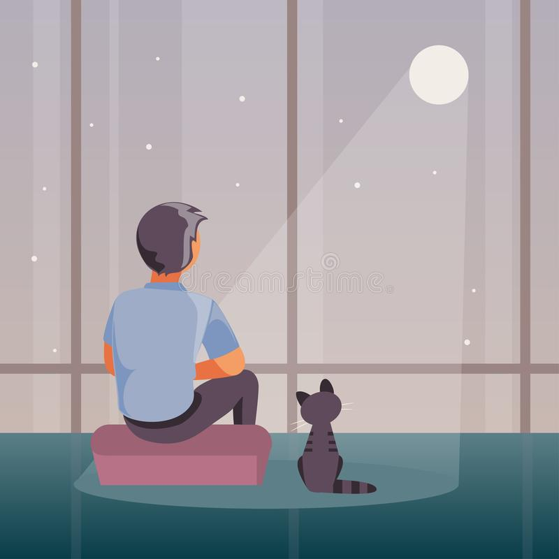Lonely man vector. Sad and lonely man sits at a window and looks at the moon. Vector illustration vector illustration