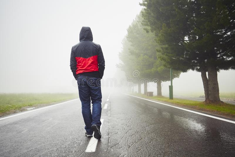 Lonely Man Stock Image Image Of Drizzly Journey