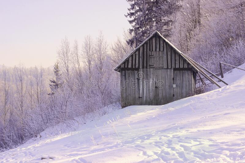 Lonely old barn. In a winter landscape stock photos