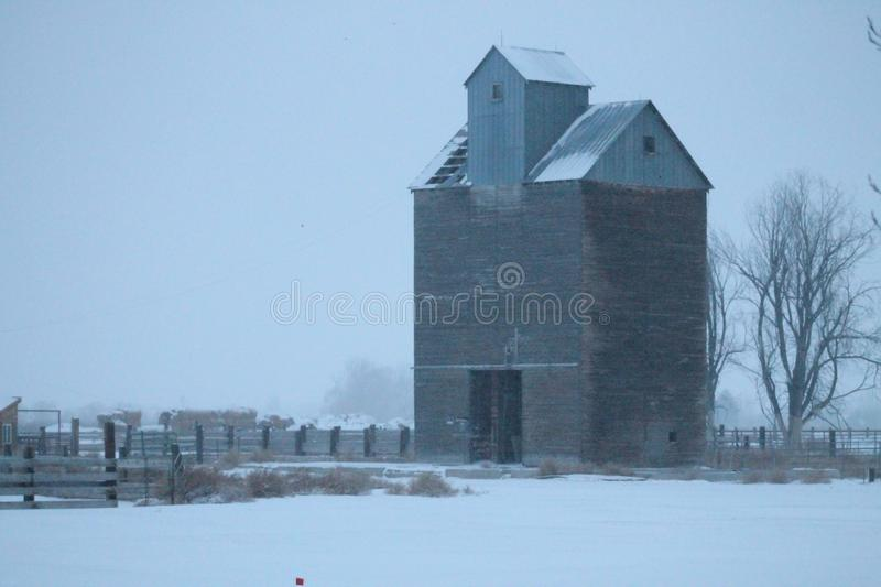 Lonely Old Barn. Snow covered old barn in Idaho royalty free stock photo