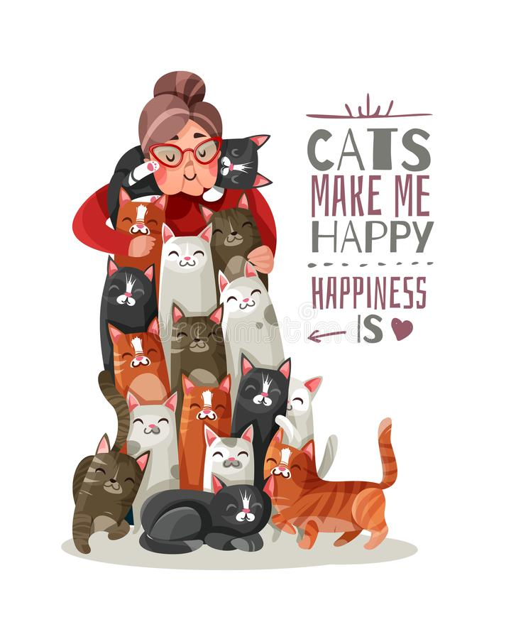 Lady Cats Illustration. Lonely old lady hugs smiling cats, phrase about happiness and domestic animals vector illustration stock illustration