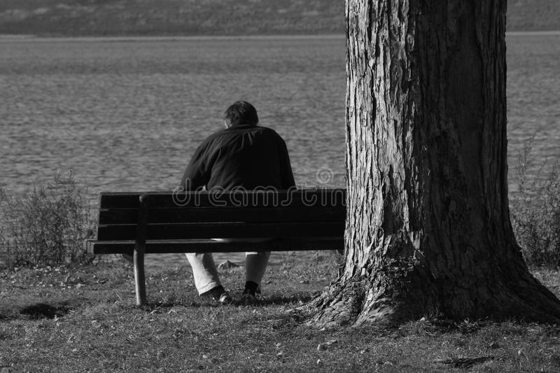 Lonely old man black and white. A lonely old man sits on a bench facing a lake. Taken in black and white in Nebraska 2016 royalty free stock image