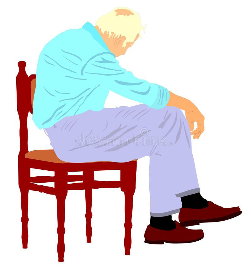 Lonely old man sitting on chair in illustration. Worried senior person. Desperate retiree looking down. stock illustration