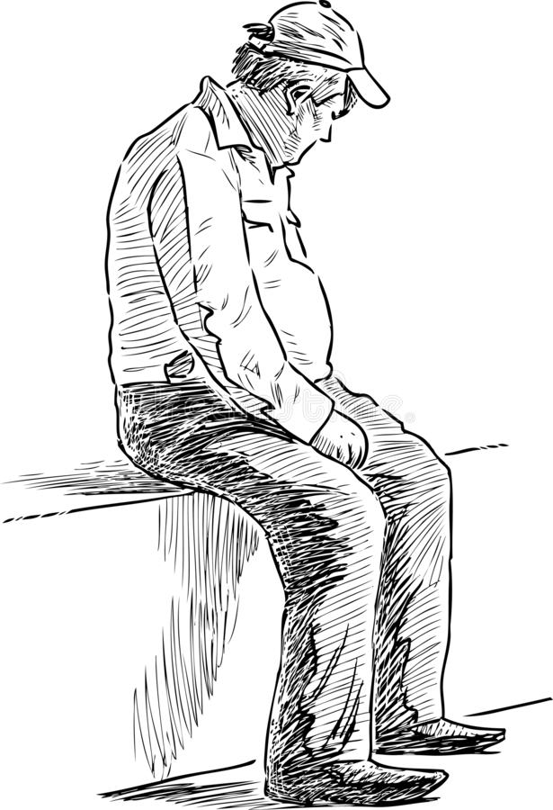 Lonely old man sitting on a park bench. A sketch of a lonely senior man resting in a city park vector illustration