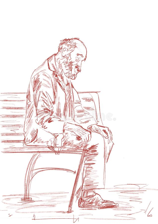 Lonely old man with walking stick is dozing on a bench. Pencil sketching. stock illustration
