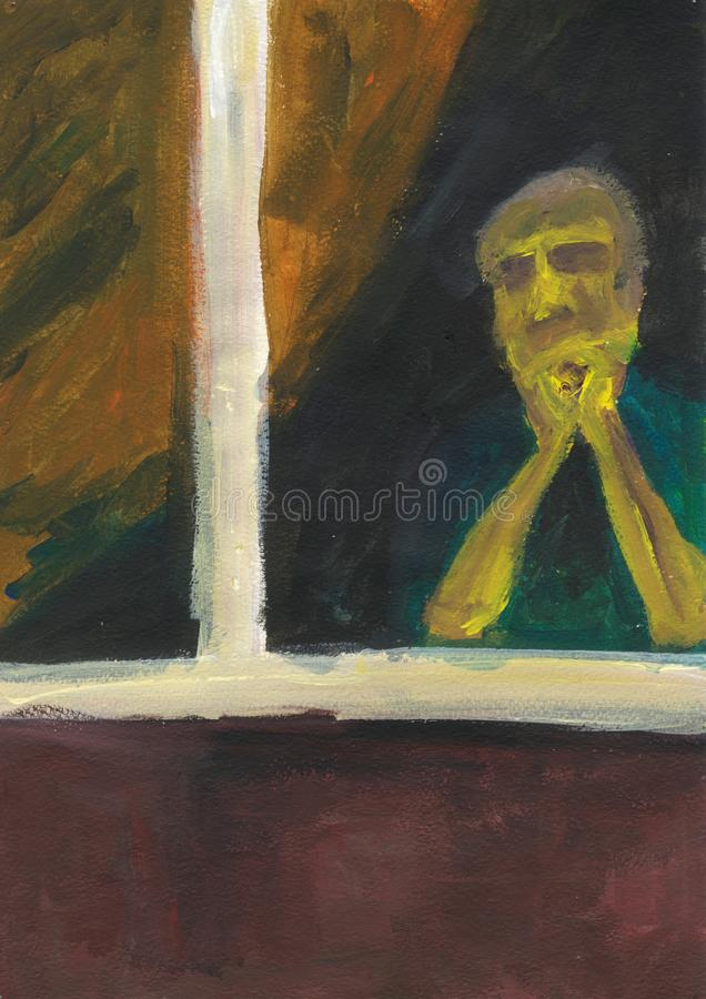 Lonely old woman at the window. royalty free stock images