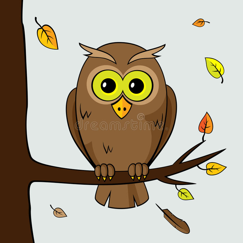 Lonely owl. Sad lonely owl sitting on a branch of a tree fall vector illustration