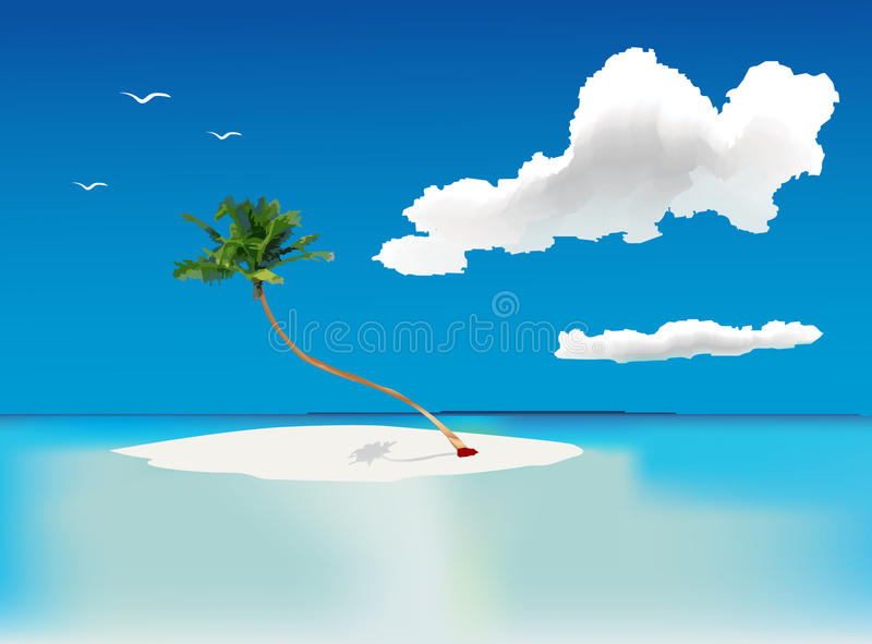 Download Lonely palm tree stock vector. Image of coco, maldives - 14849836