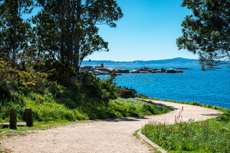 Lonely path in the Rias Baixas, Galicia stock photo