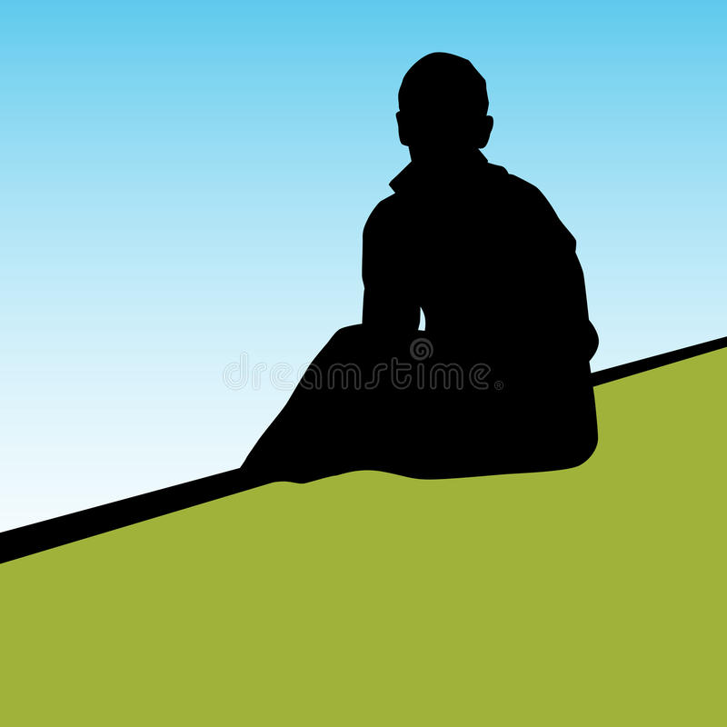Lonely Person. An image of a lonely person vector illustration