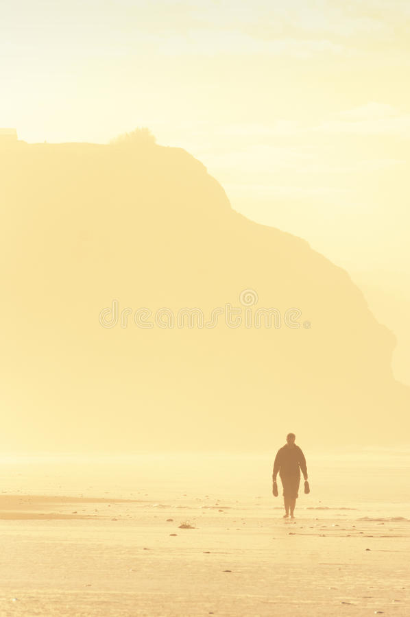Lonely person walking on beach royalty free stock photos